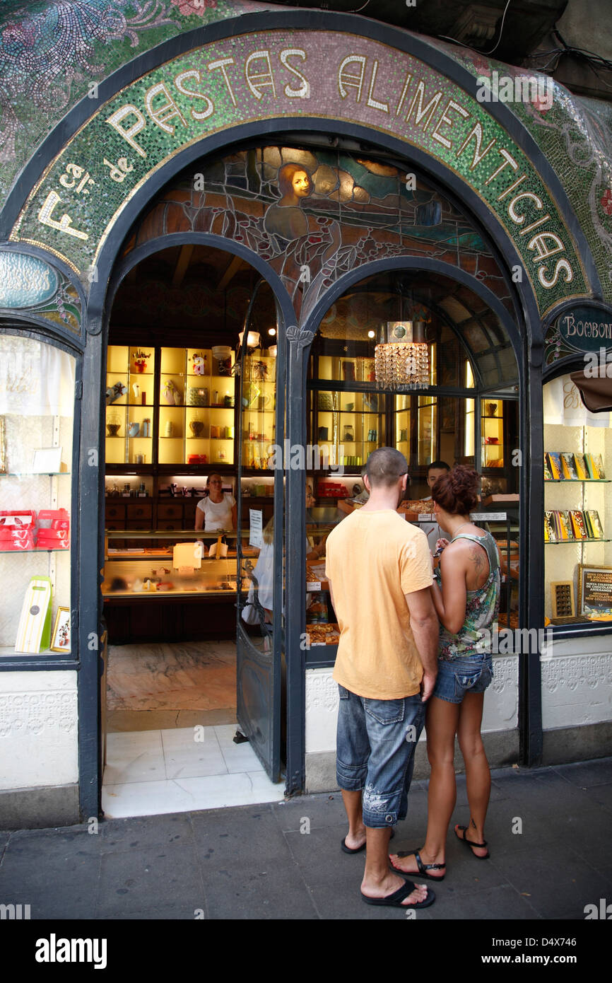 Pasteleria Escriba at Ramblas, Barcelona, Spain - Stock Image