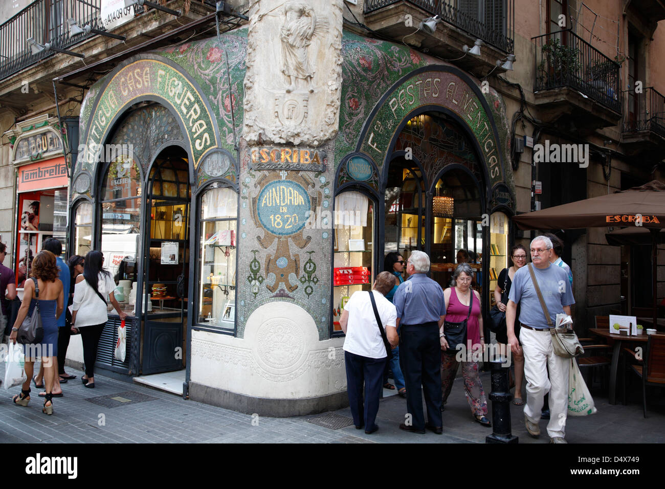 Pasteleria Escriba, at Ramblas Barcelona, Spain - Stock Image