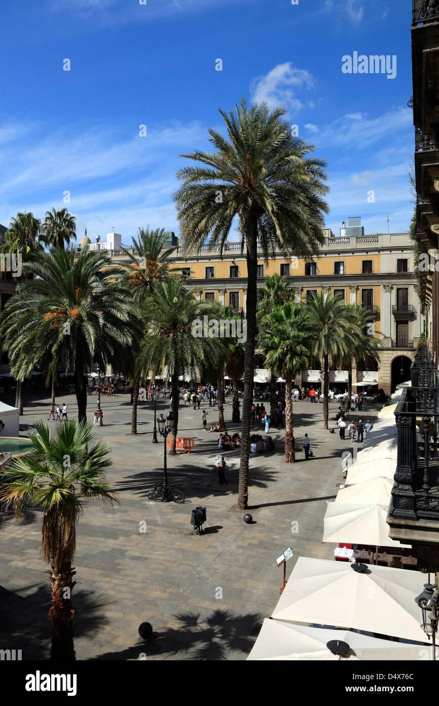 Placa Reial, Barri Gotic, Barcelona, Spain - Stock Image