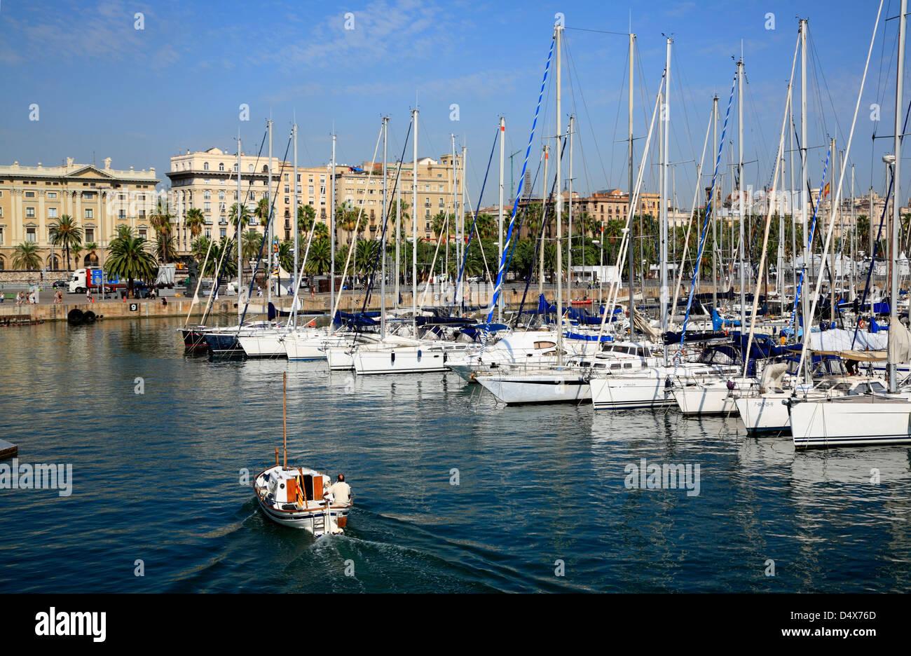 Sailboats, Port Vell harbor, Barcelona, Spain - Stock Image