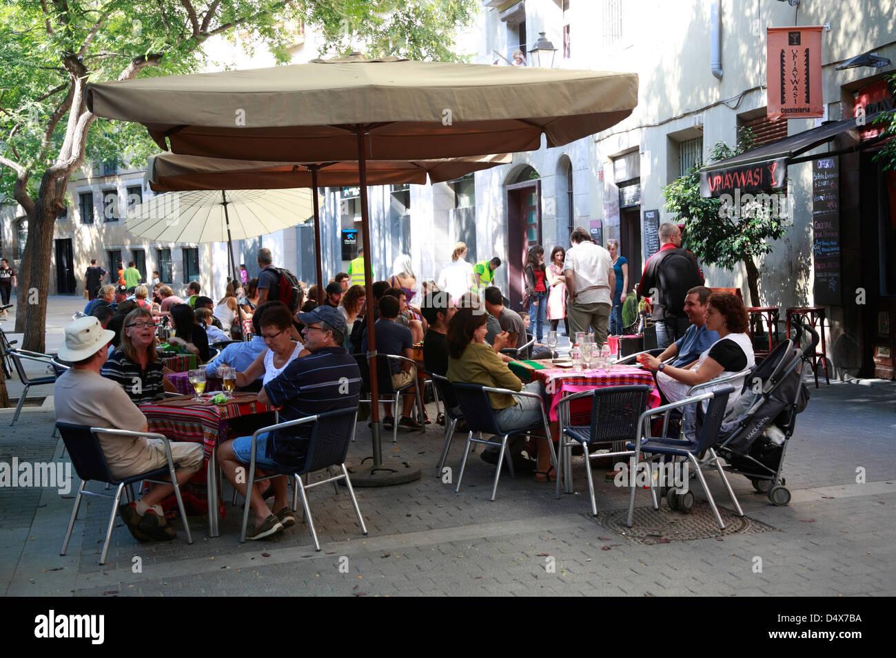 Streetcafe in the Ribera Quarter, Barcelona, Spain - Stock Image