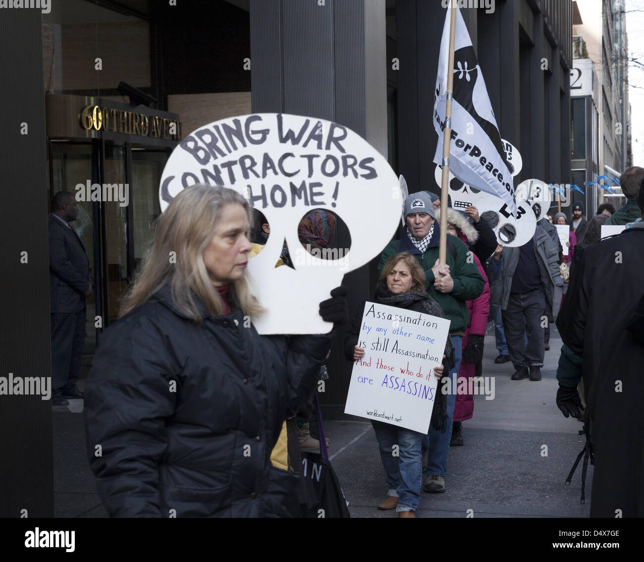Americans demonstrate against L3 Communications, maker of Drone technology on 3rd ave. in NYC on the 10th anniversary Stock Photo