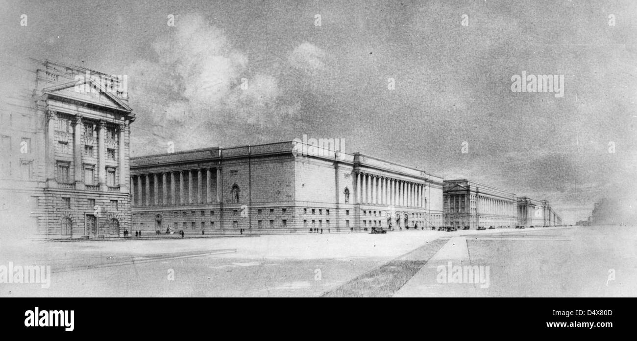 Architectural Drawing of the Archives Building - Stock Image