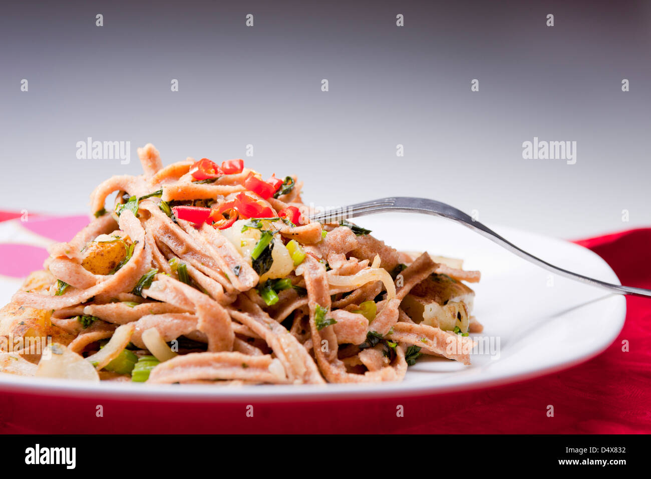 Plate of pasta. - Stock Image