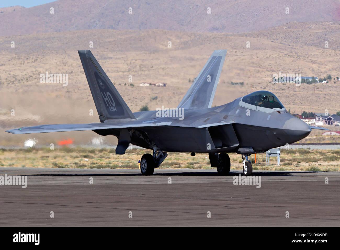 F-22 Raptor taxiing. - Stock Image