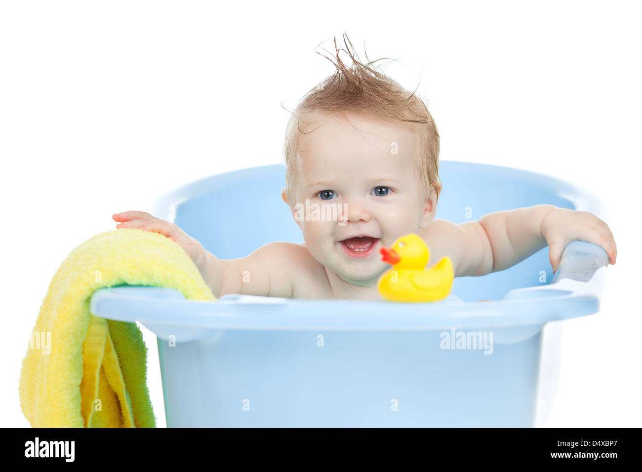 adorable baby having bath in blue tub Stock Photo: 54669727 - Alamy