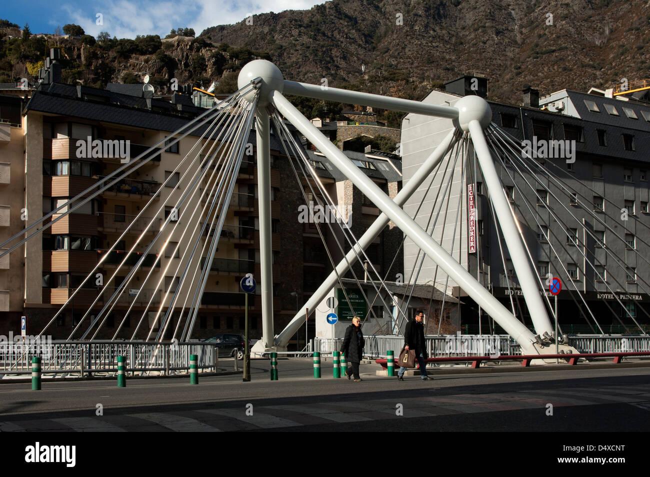 Suspension bridge Pont de Paris crossing the river Gran Valira, Andorra La Vella, Principality of Andorra Stock Photo