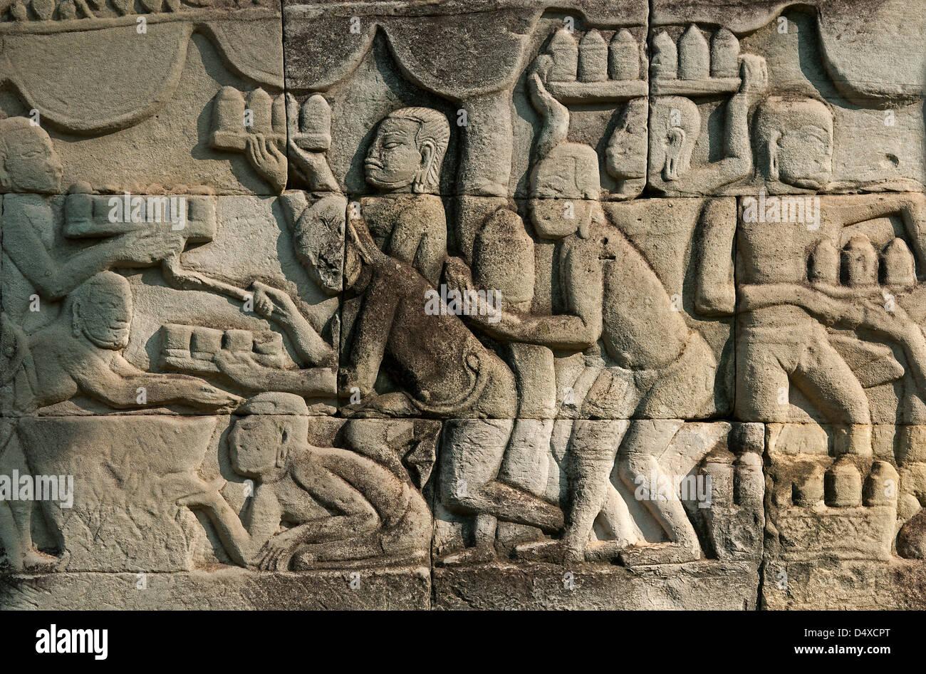 Khmer bas relief stock photos