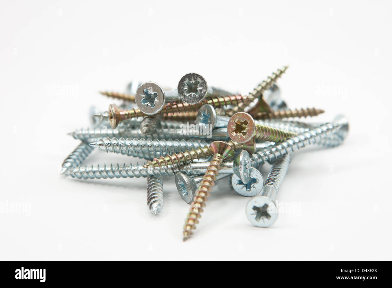Wood screws for DIY building use - Stock Image