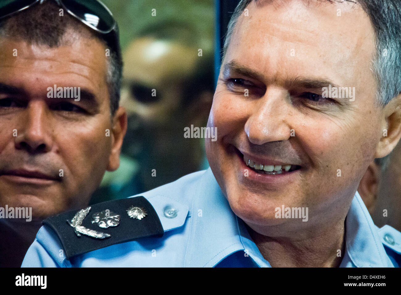 Israel Police Commissioner, Yohanan Danino, in an exchange of laughs with police officers manning the Jerusalem - Stock Image