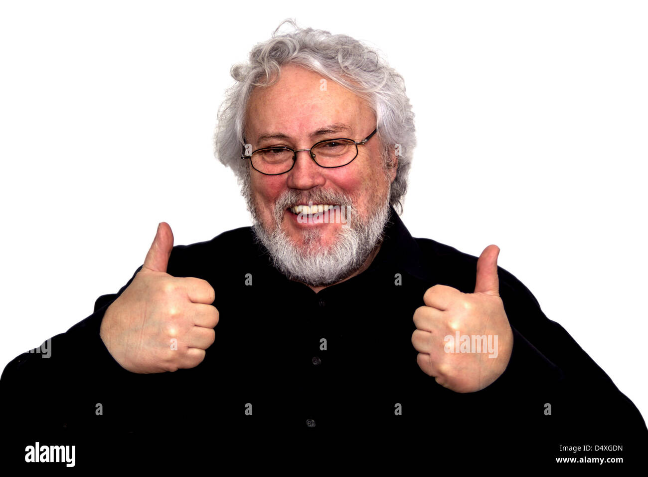 A senior is giving two thumbs up - Stock Image