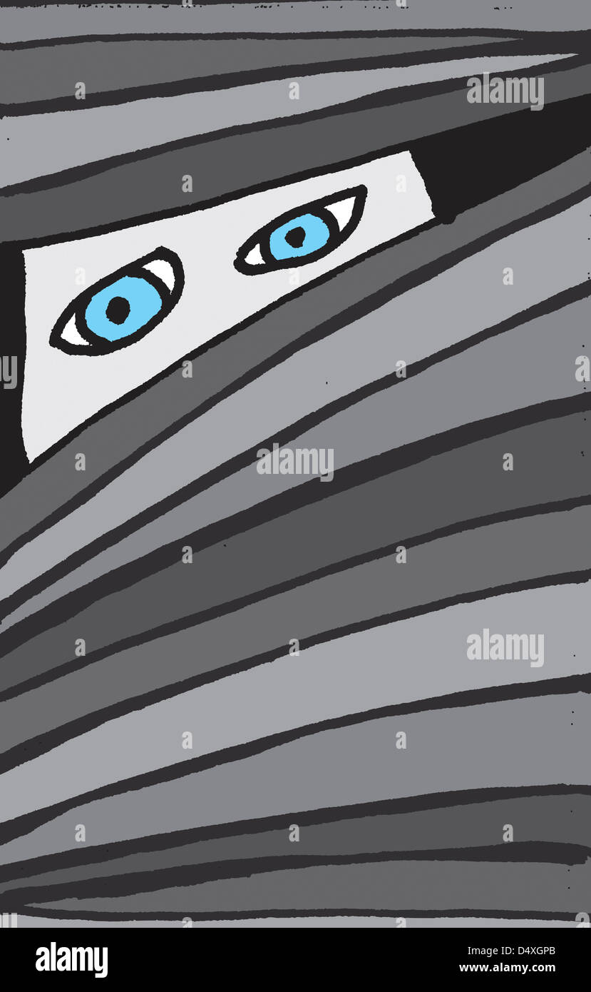 Lonely staring eyes hiding behind blinds - Stock Image