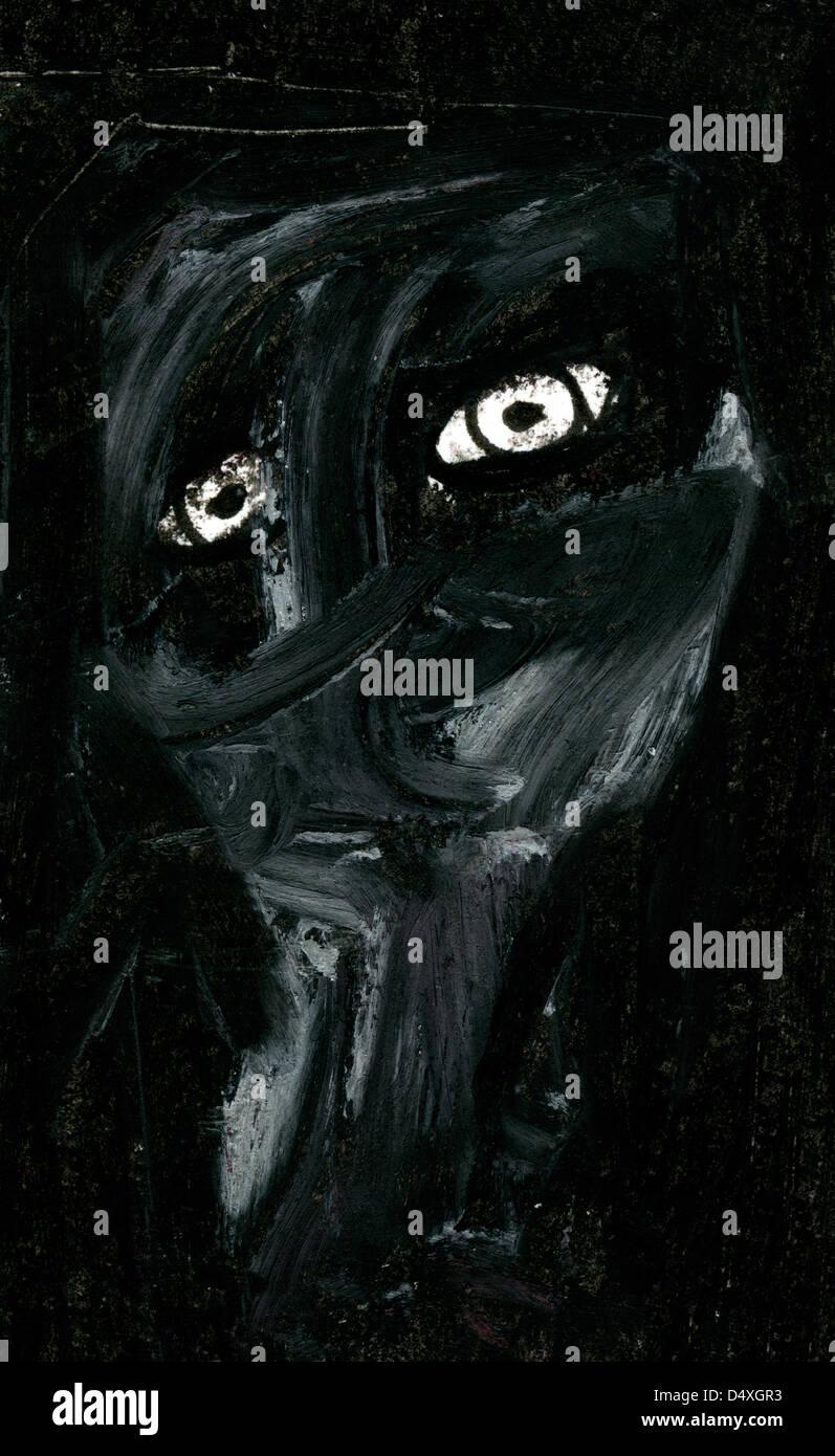 Expressive portrait of Despair. - Stock Image