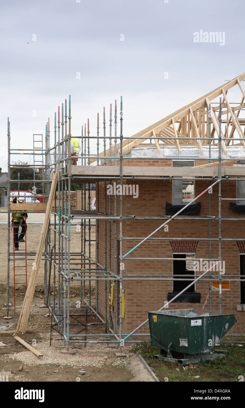 Construction of traditional  two storey, brick housing in Sheffield, UK - Stock Image