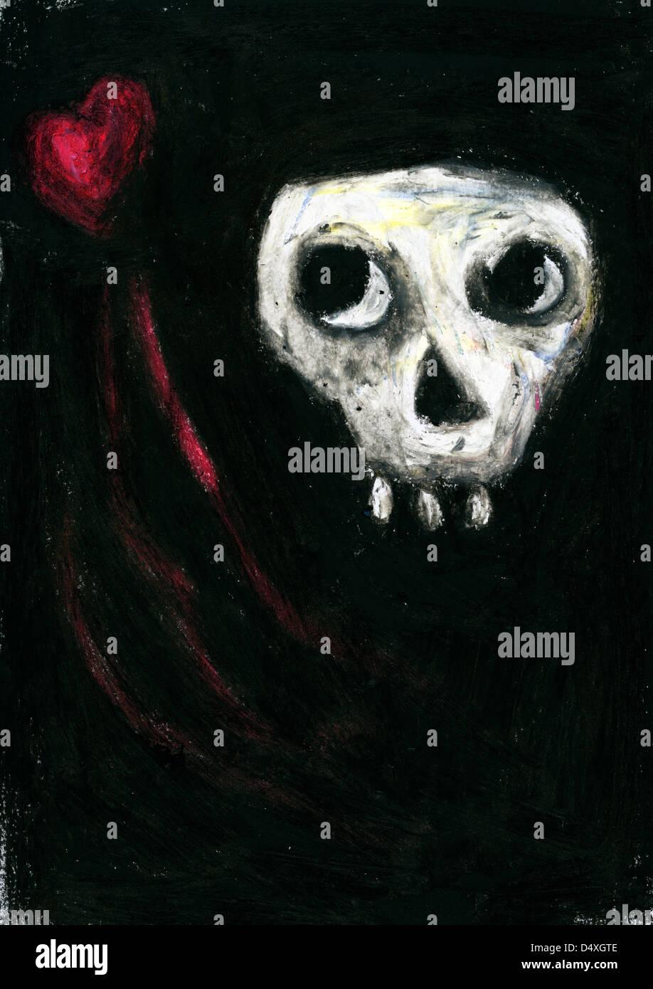 Skull looking sideways at heart - Stock Image