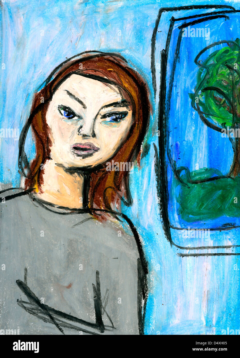 Depressed woman being thoughtful. - Stock Image