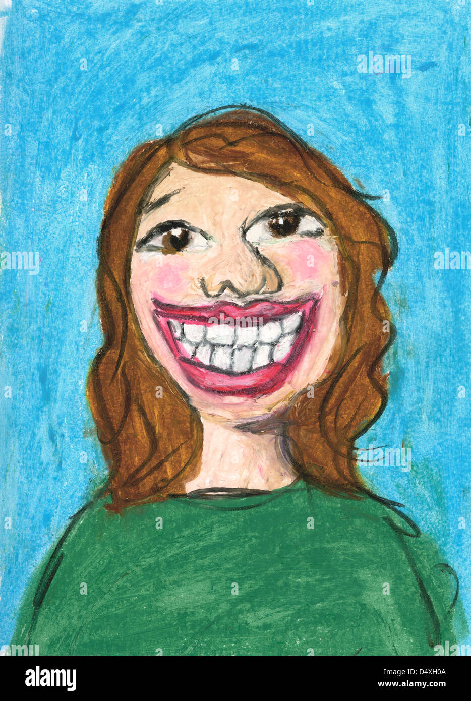Expressive portrait of a cheerful happy Smiling woman. - Stock Image
