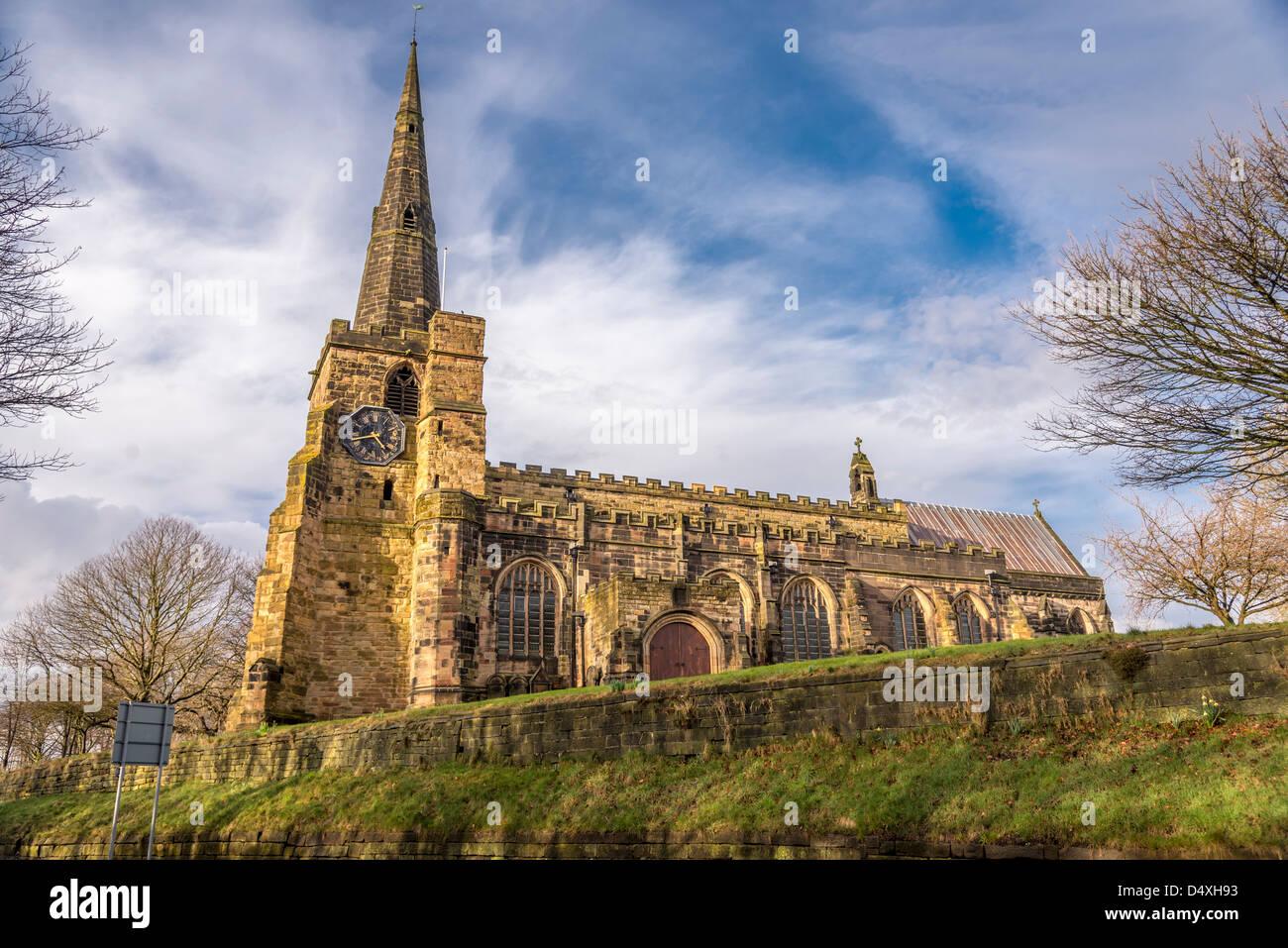 The parish church of St. Oswald's in Winwick Cheshire. - Stock Image