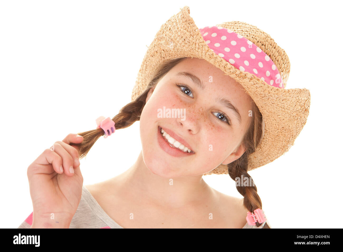 smiling summer girl with perfect straight white teeth - Stock Image
