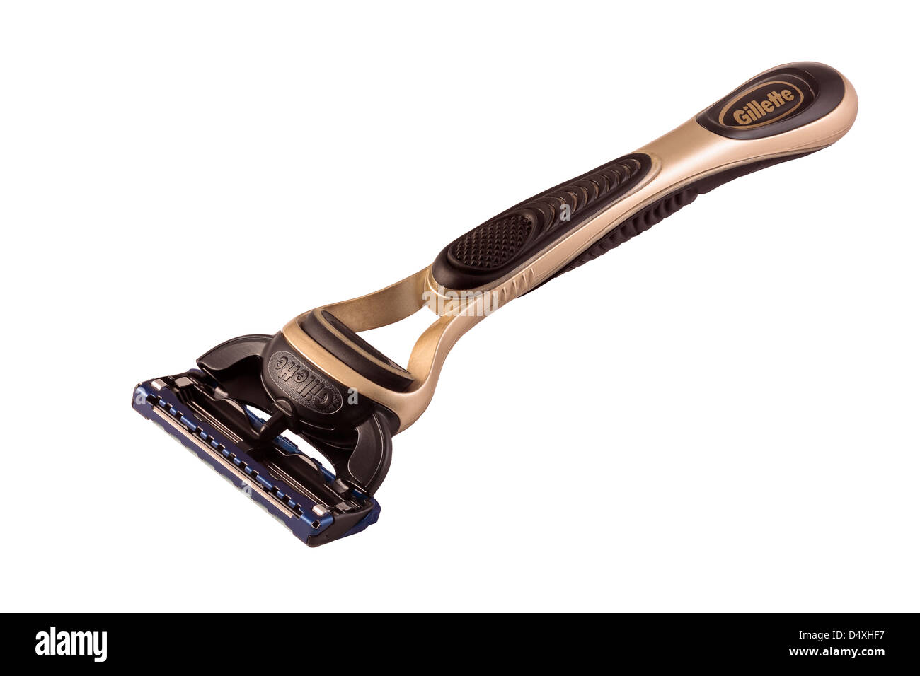 Gillette Fusion Proglide Olympic Gold Edition Razor isolated on white background - Stock Image