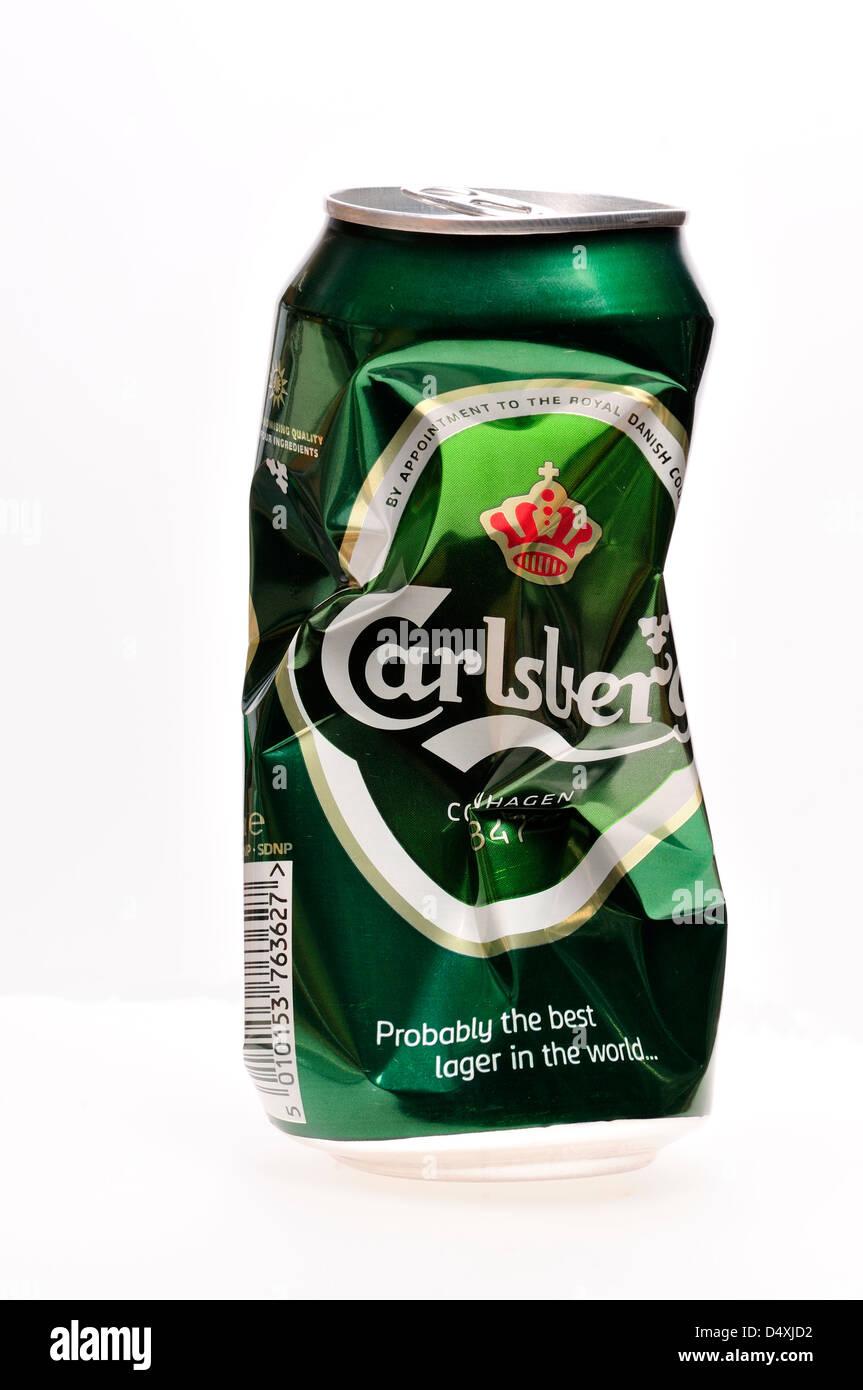 Crumpled beer can [Carlsberg] - Stock Image