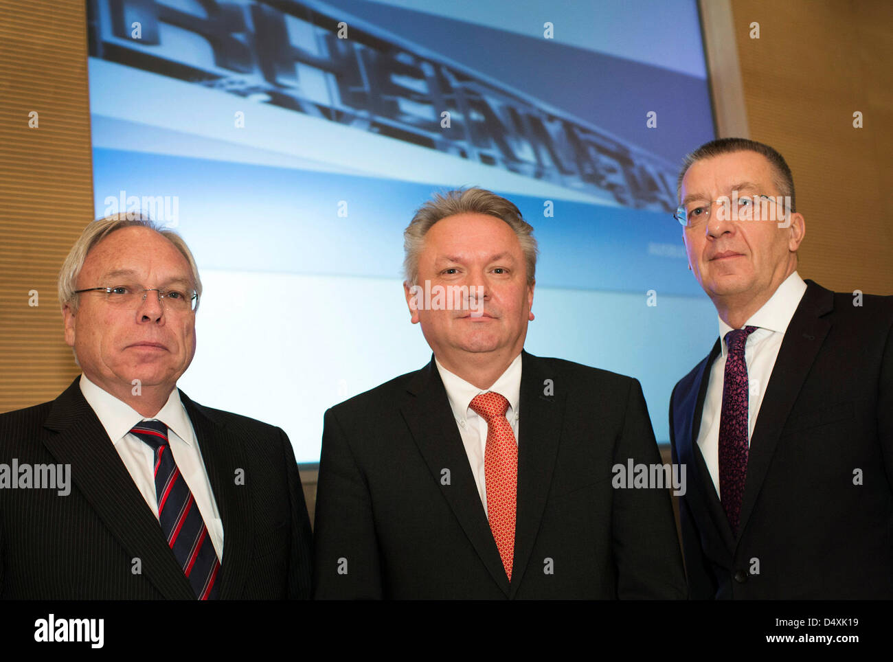 Rheinmetall AG board members Gerd Kleinert (L-R), Armin Papperger and Helmut P. Merch pose during the balance press - Stock Image