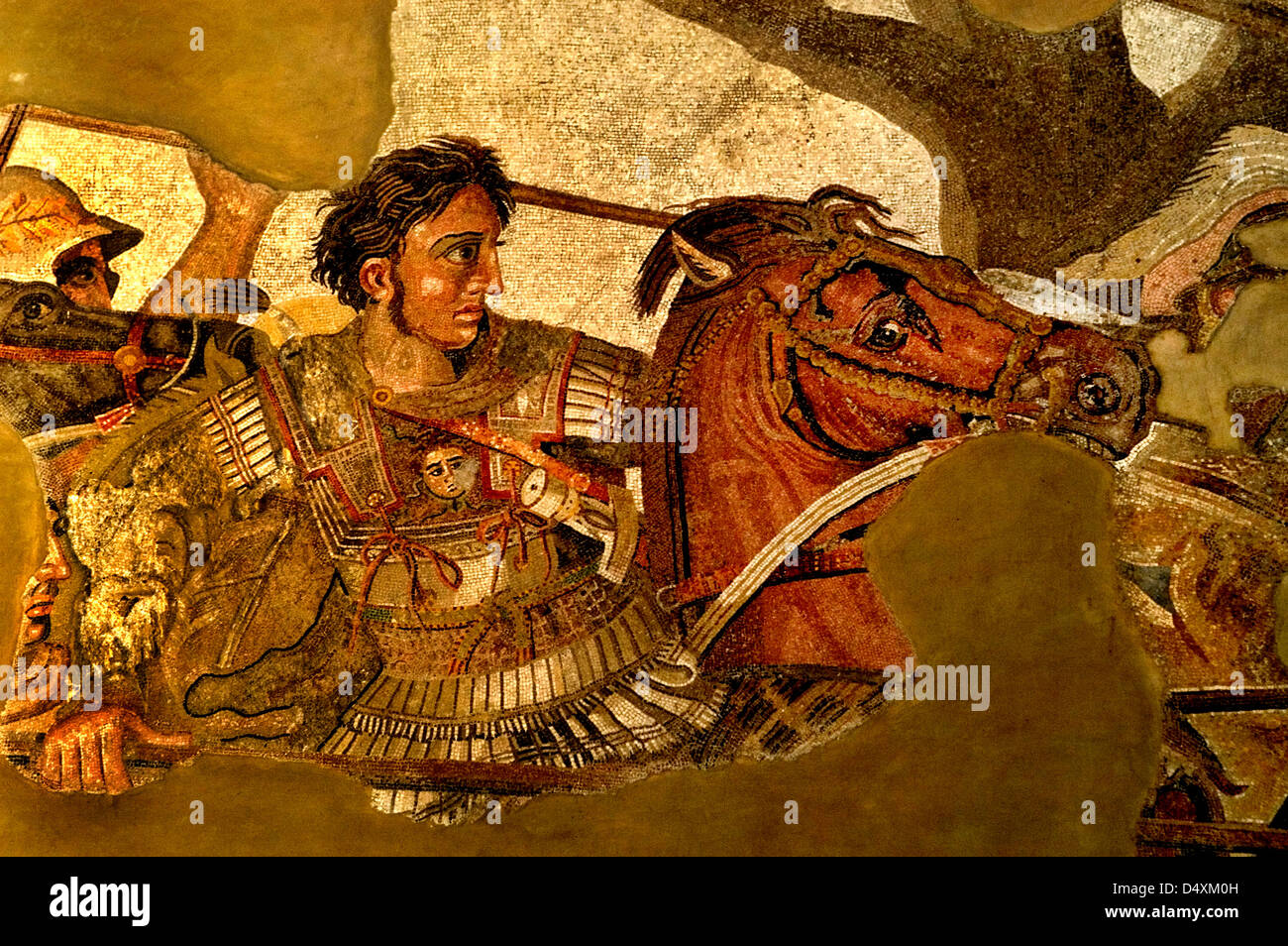 This image is Alexander  the Great in battle Persian King Darius III Alexander  the Great Issus 331 B. C . Mosaic - Stock Image