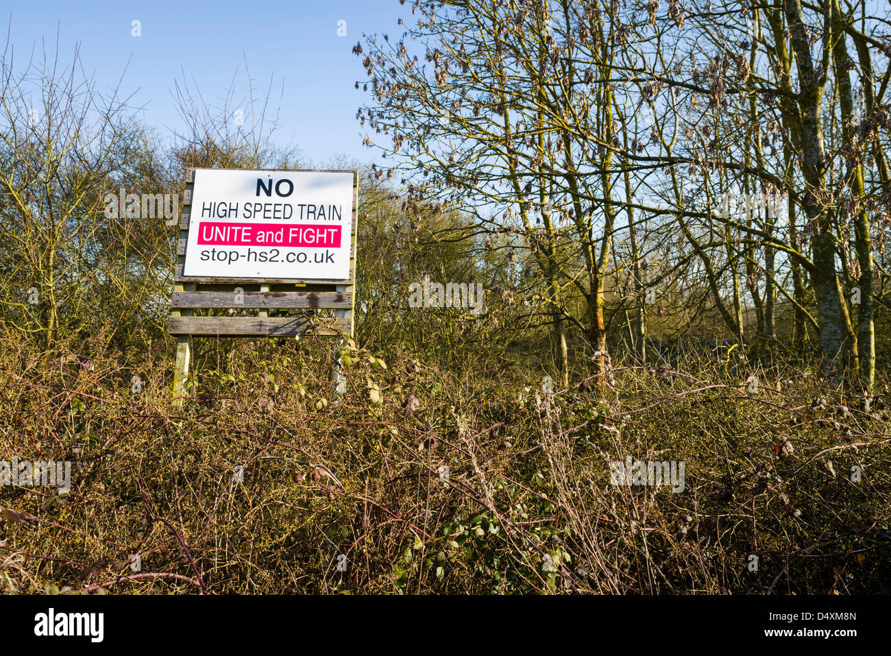 Stop HS2 sign near Offchruch, Warwickshire, UK - Stock Image
