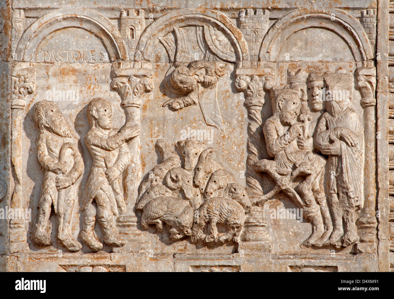 VERONA - JANUARY 27: Relief of Adoration of Magi and pastors from facade of Basilica San Zeno. - Stock Image