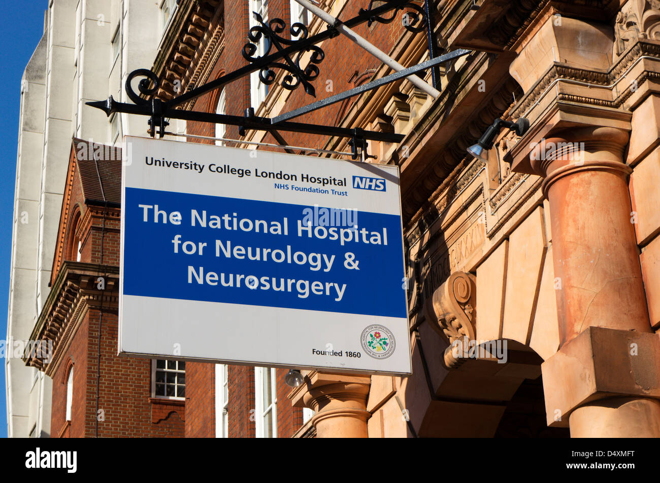 Sign for 'The National Hospital for Neurology & Neurosurgery', part of University College London Hospital in Queen Square Stock Photo - Alamy