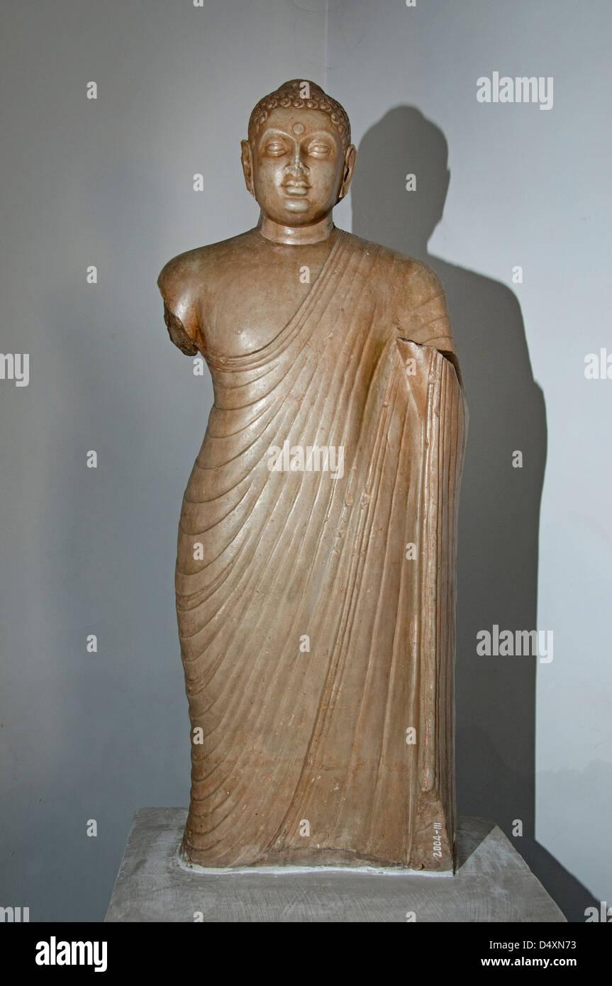 Standing Buddha ( Abhaya Mudra Ikshavaka school of art ) 108 x 40 cm 3 Cent AD India Hindu - Stock Image