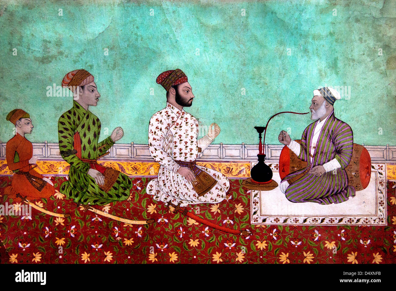 Nobleman in Conversation 18th Century Indian Rajasthan India miniature Hindhu - Stock Image