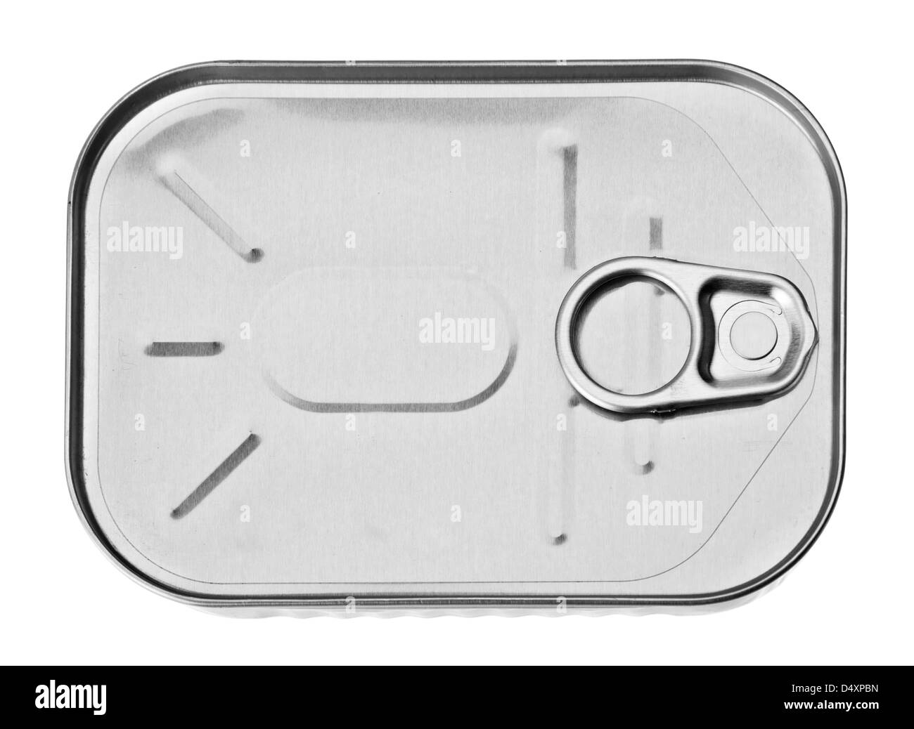 Metal can closeup isolated on white - Stock Image