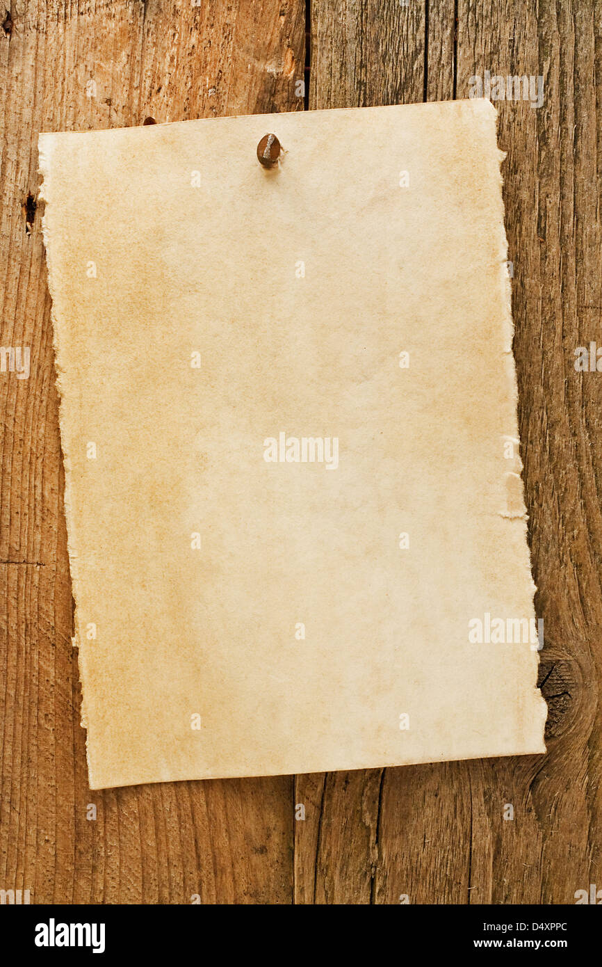Parchment paper notice sign similar to the grungy cowboy wanted posters often used to symbolise the wild west of - Stock Image
