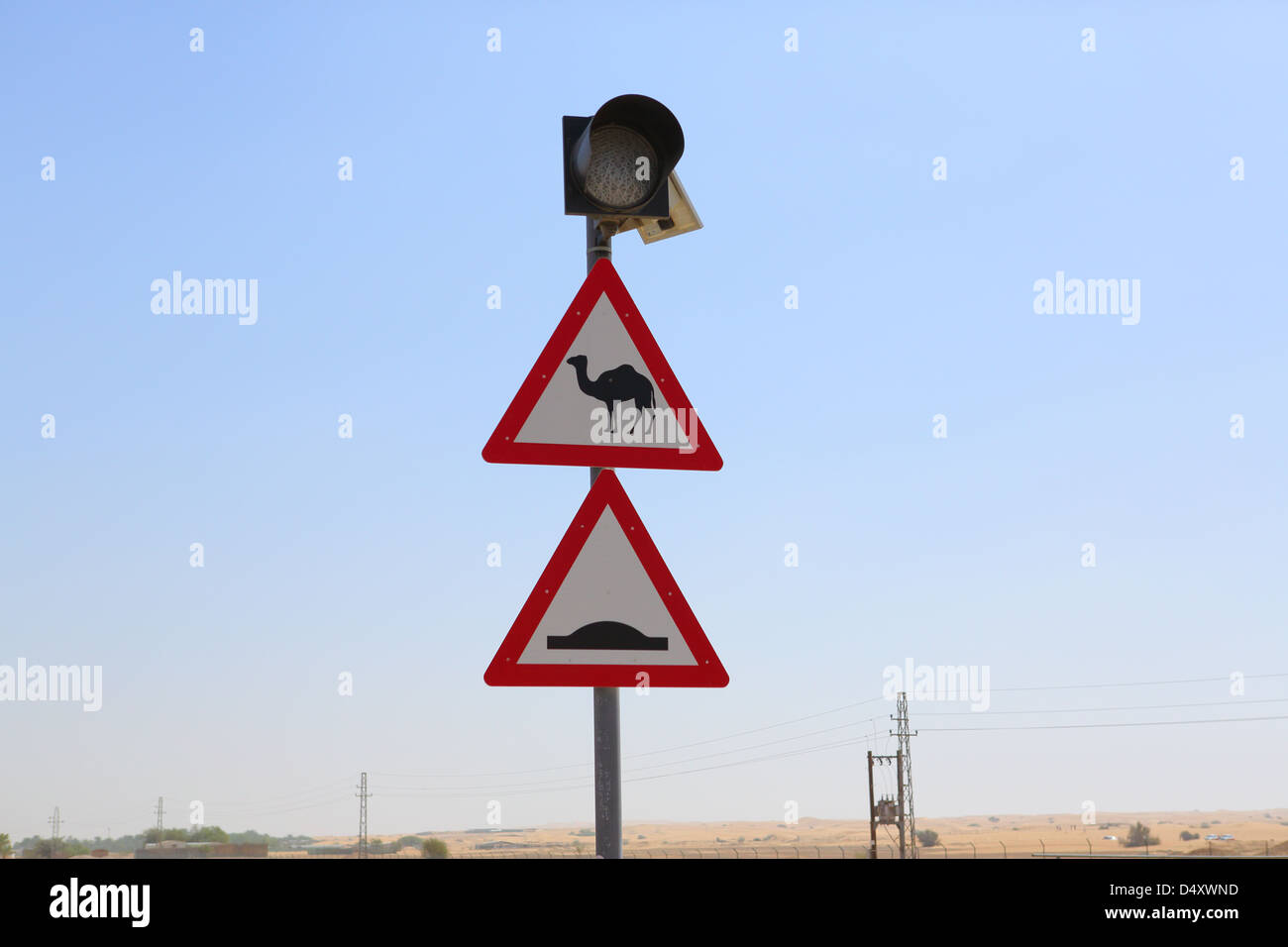 Camel crossing sign, Dubai, United Arab Emirates - Stock Image