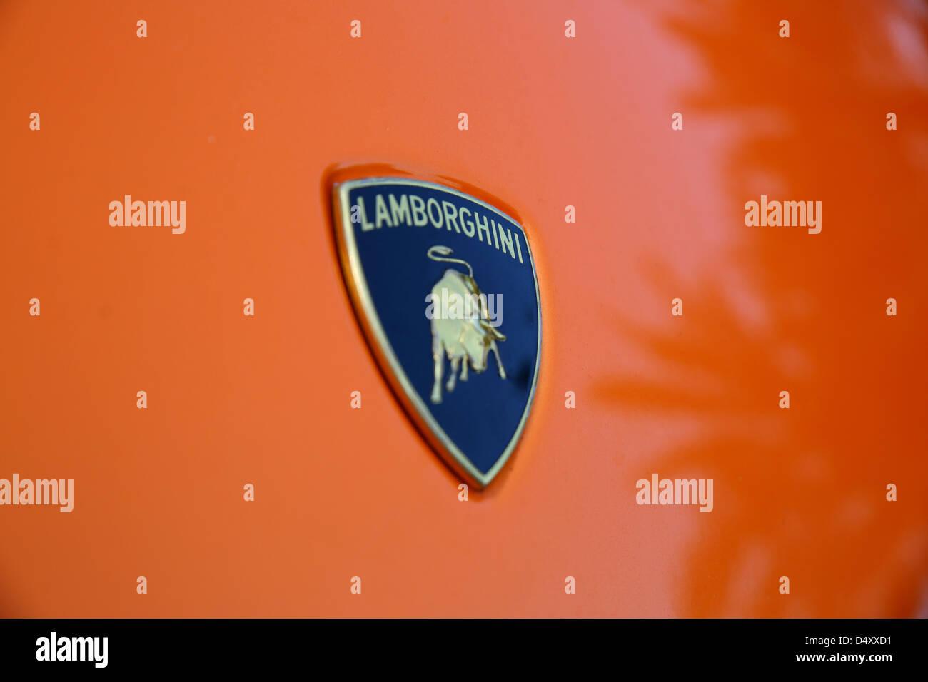 Lamborghini emblem, Dubai, United Arab Emirates - Stock Image