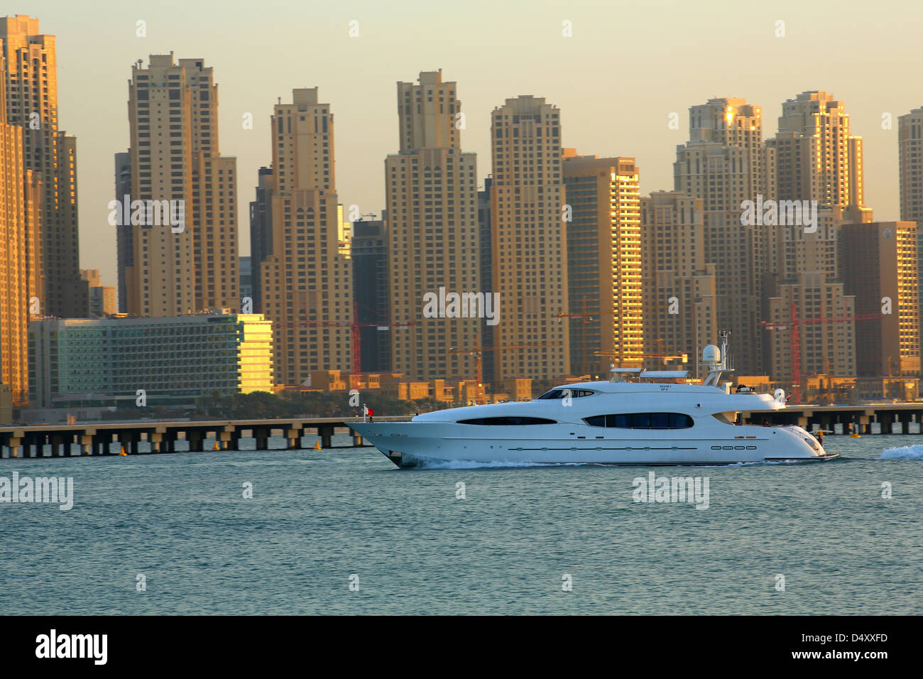 Luxury yacht at Dubai marina, United Arab Emirates - Stock Image