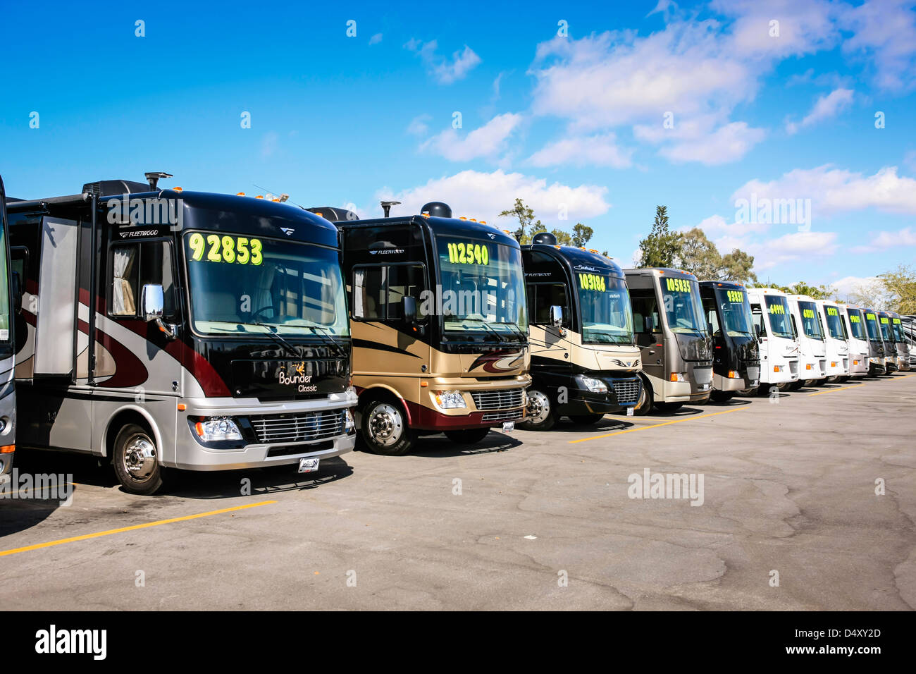 Class A Motorhomes on sale at an RV show in Sarasota Florida - Stock Image