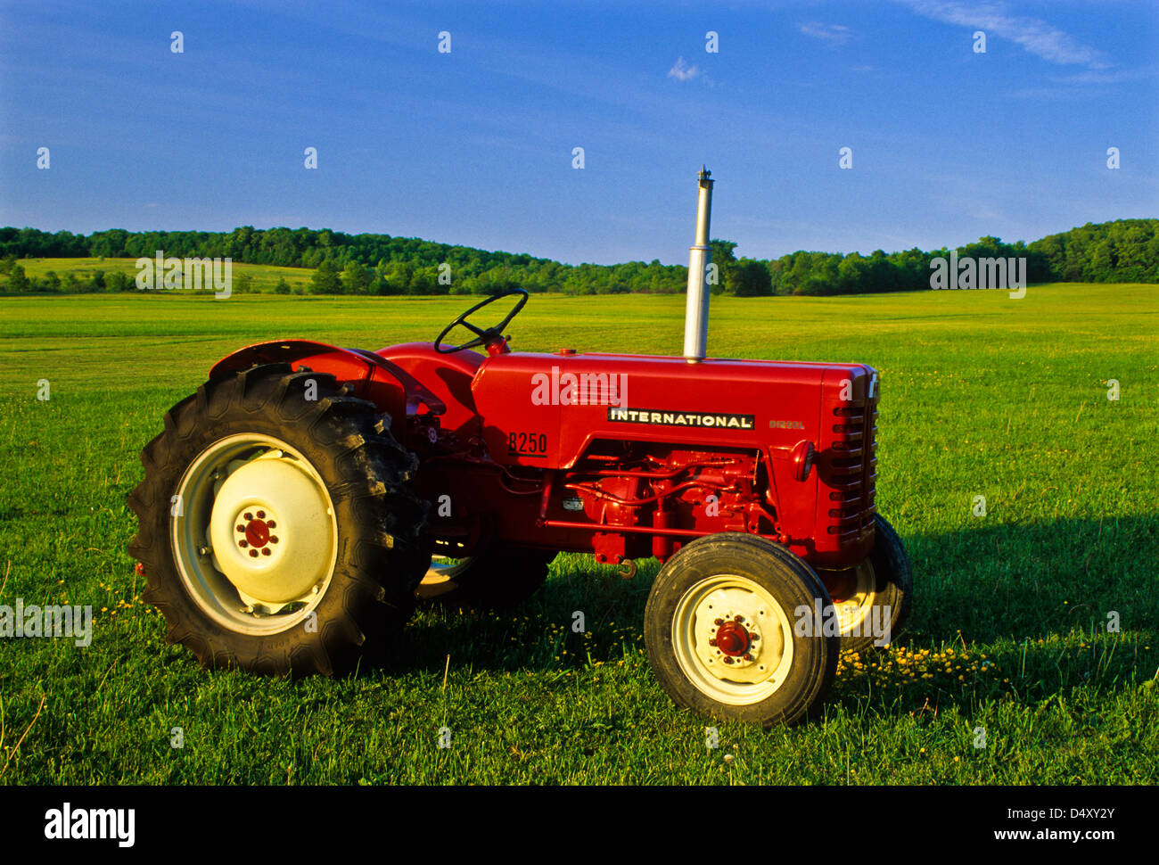Restored 1955 International B250 antique red tractor close up in  Cattaraugus County, New York,