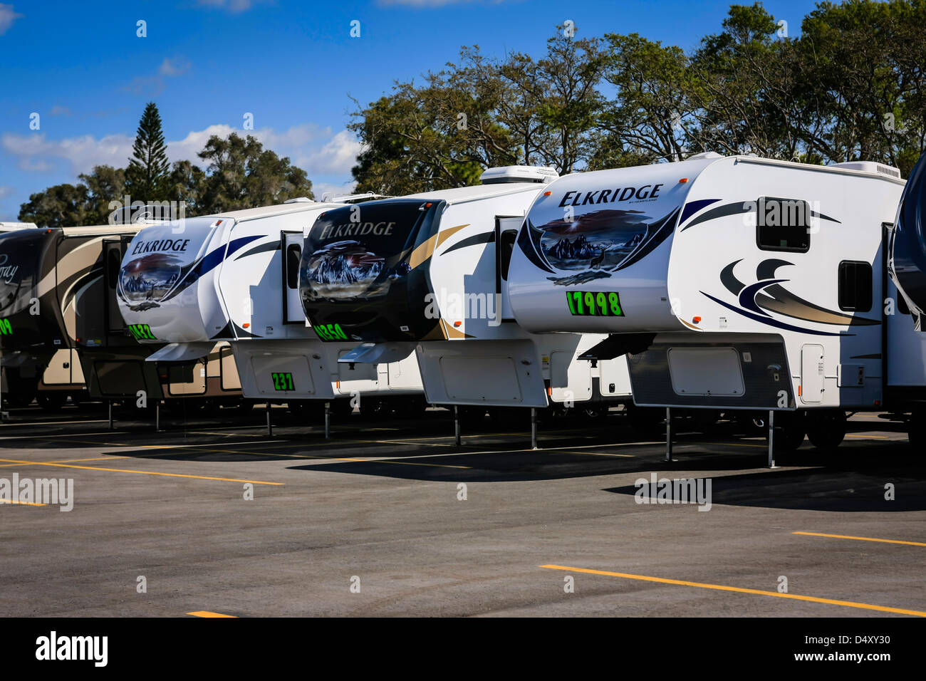 Fifth-wheel trailers on sale at an RV show in Sarasota Florida - Stock Image