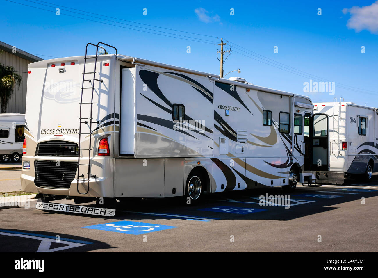 Class A Motorhomes on sale at an RV show in Sarasota Florida