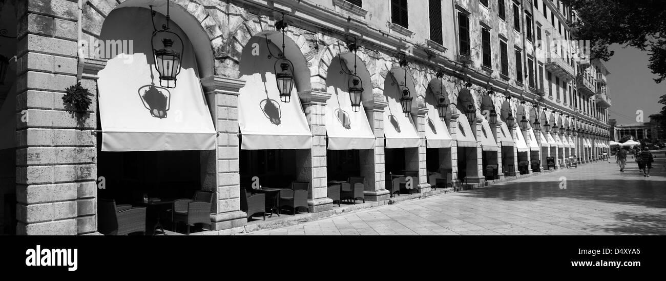 The Liston Arcade, Old Town, Corfu Town, Corfu Island, Greece, Europe - Stock Image