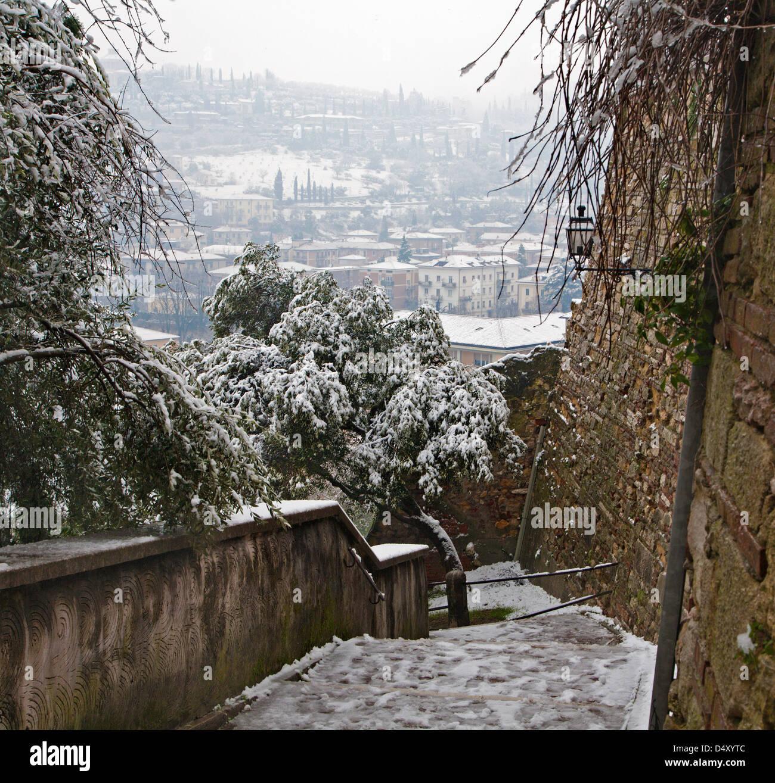Verona - ascent on Castel San Pietro in winter - Stock Image