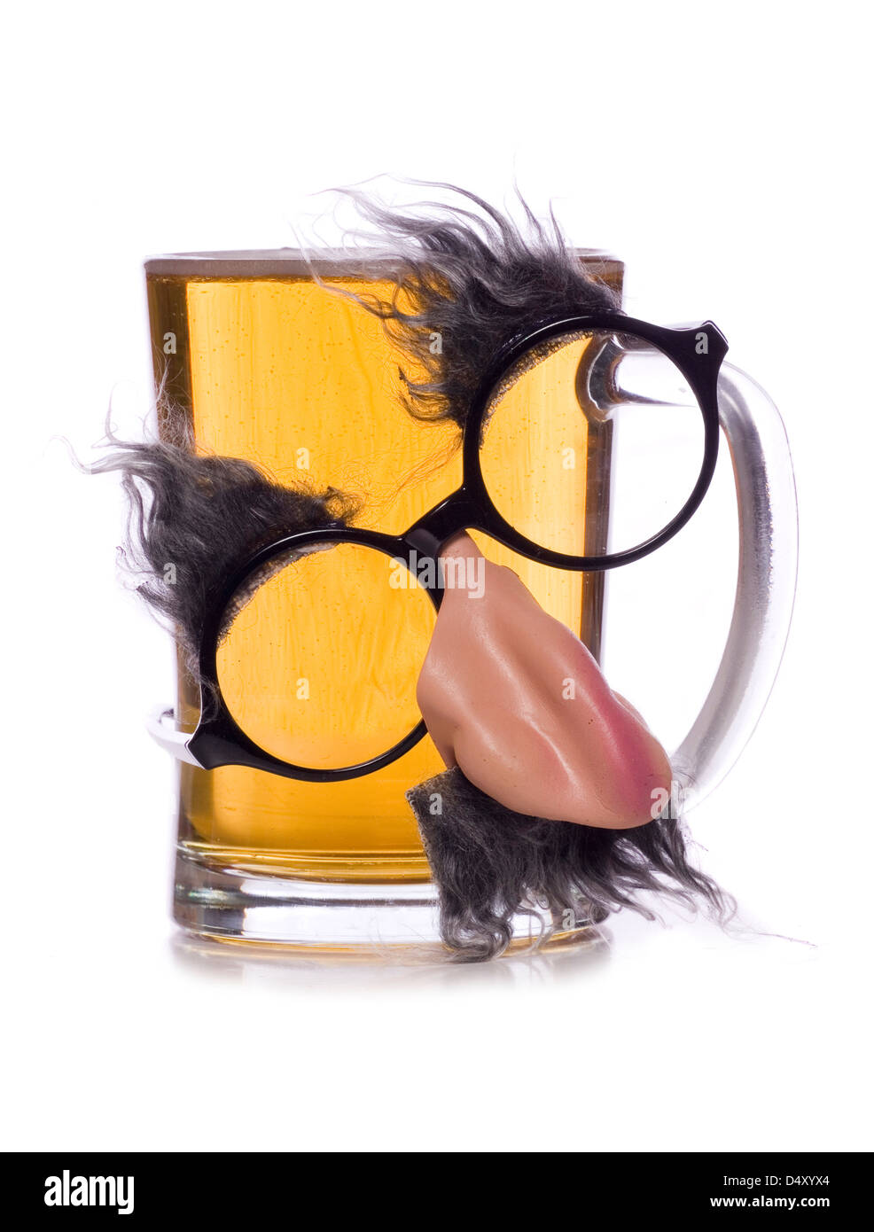 pint of beer with glasses disguise studio cut out - Stock Image
