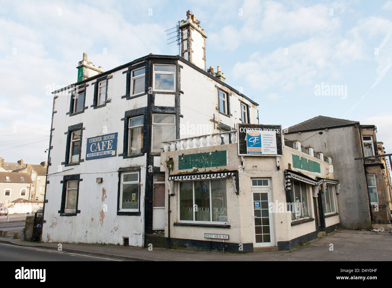 Morecambe Lancashire, England and a run down hotel and cafe - Stock Image