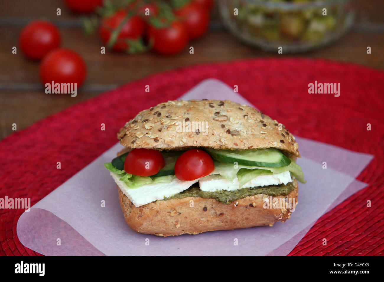 cheese sandwich with tomato and cucumber - Stock Image