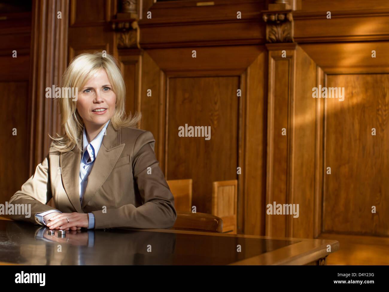 Michaela Schaffrath filming guest appearance as registrar on the set of ARD TV series 'Verbotene Liebe'. Bergisch Stock Photo