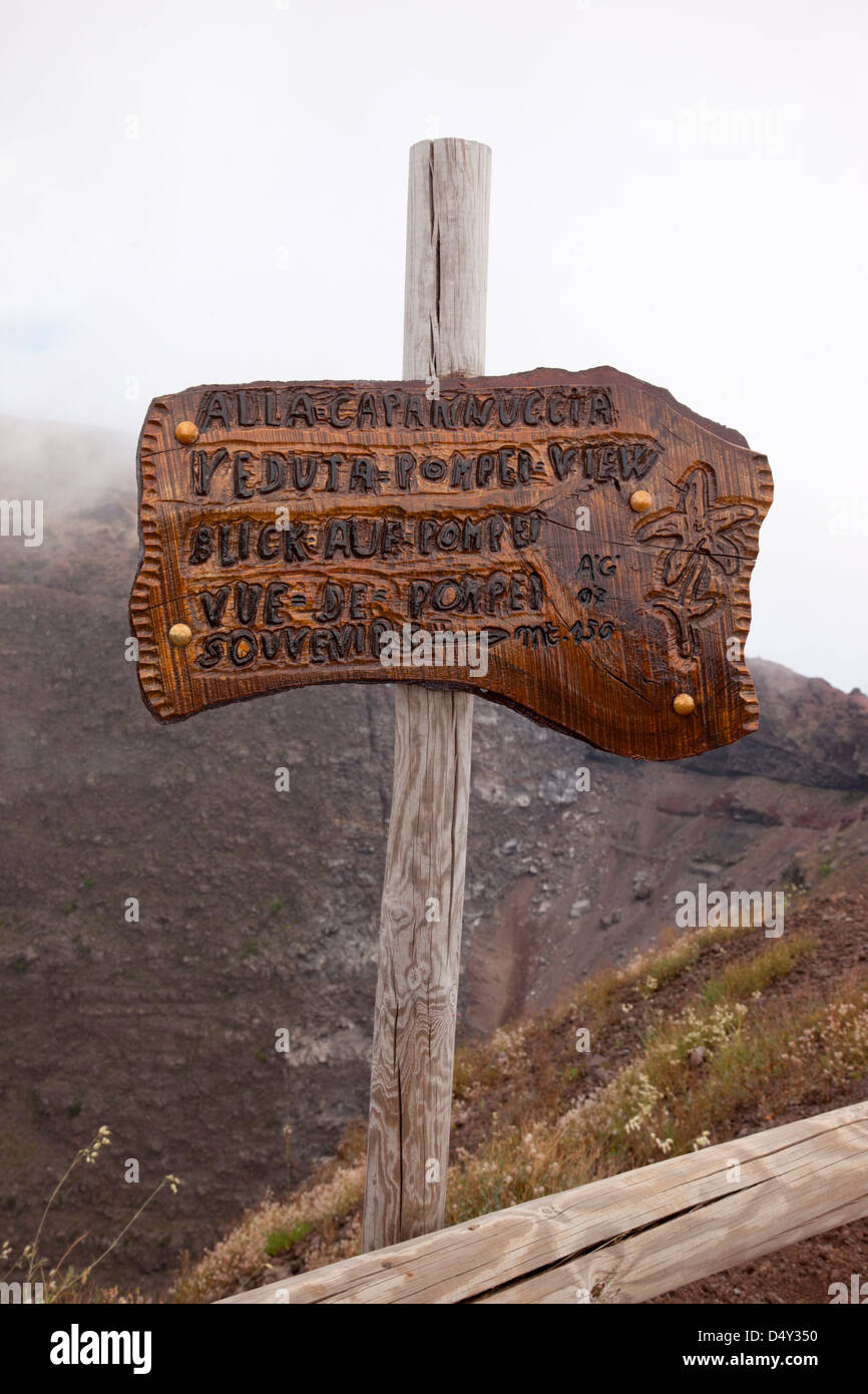 Mount Vesuvius National Park wooden sign ,Naples, Italy - Stock Image