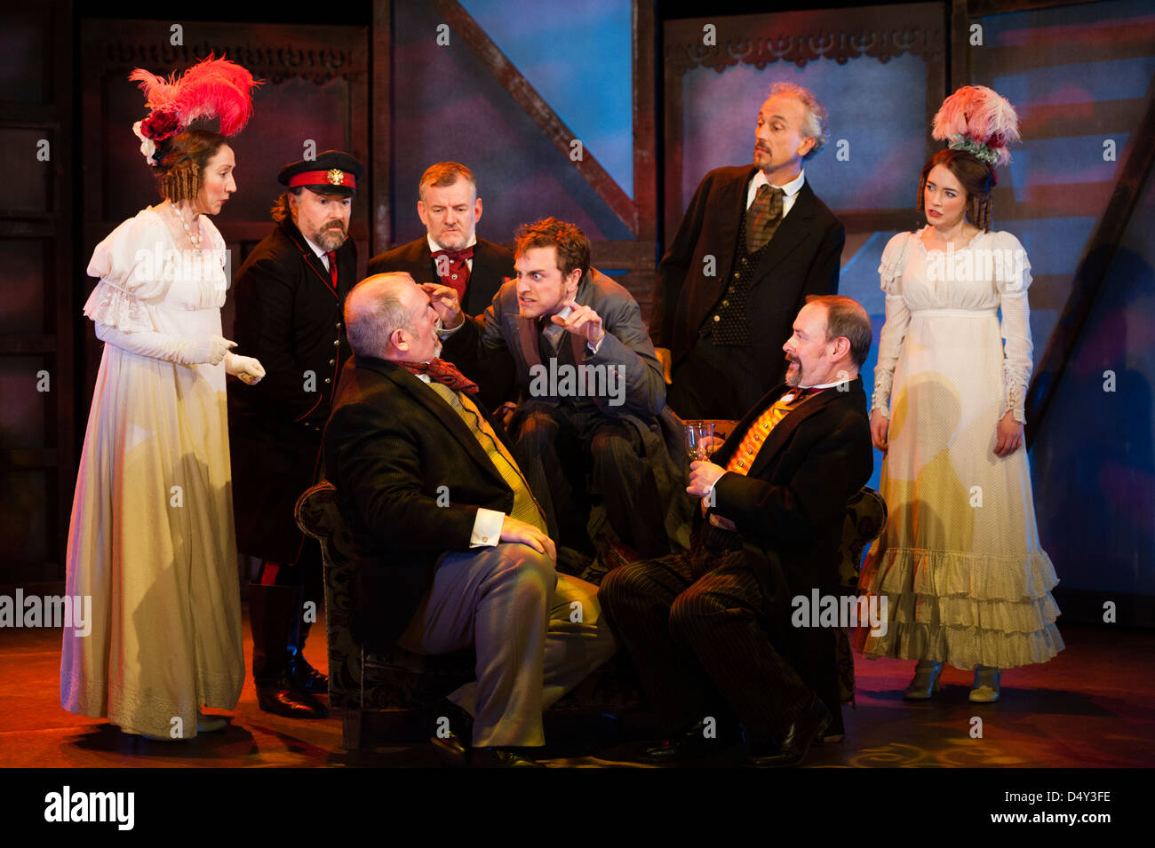 Professional actors on stage and in period costume performing in a production of The Government Inspector, Aberystwyth - Stock Image