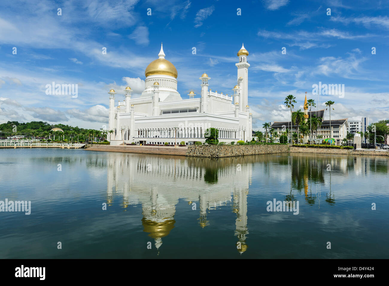 View of Omar Ali Saifuddien Mosque, Bandar Seri Bengawan, Brunei, Borneo, Asia. - Stock Image